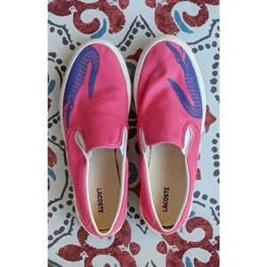 Lacoste | pink slip on fabric sneakers size 5 euc